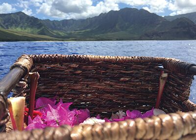 image showing cremation remains or ashes floating away in a basket on water