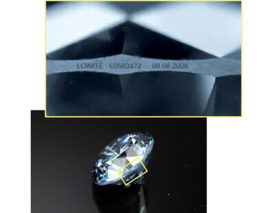 example image to show LONITÉ laser encryption on a cremation diamond one can use on a ring